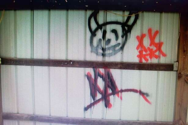 The Mecosta County Sheriff's Office is asking for the community's help in identifying those responsible for graffiti found at the Fork Township Community Center and Park. Those with information are being asked to call the Sheriff's Office at 231-592-0150. (Courtesy photo