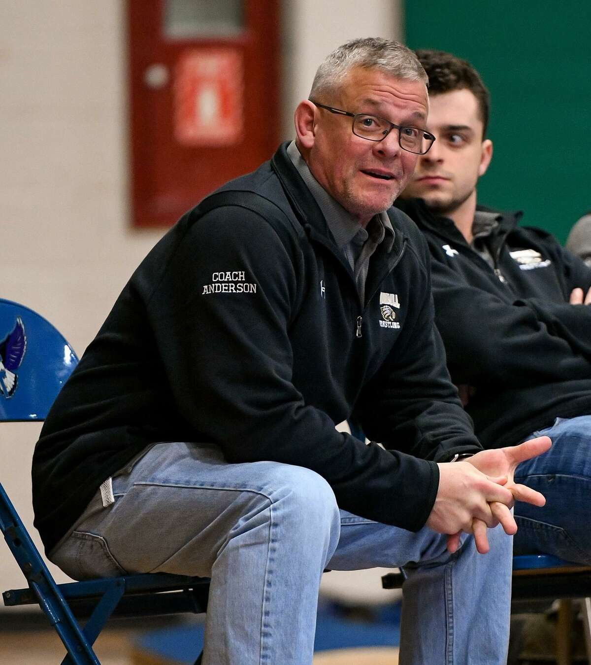 Trumbull coach Charlie Anderson is doing the best he can for his wrestlers.
