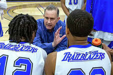 Lewis and Clark Community College men's basketball coach Doug Stotler talks to his team last season. The Trailblazers' first game of the delayed NJCAA season is set for Feb. 1 against rival Southwestern Illinois at the River Bend Arena.