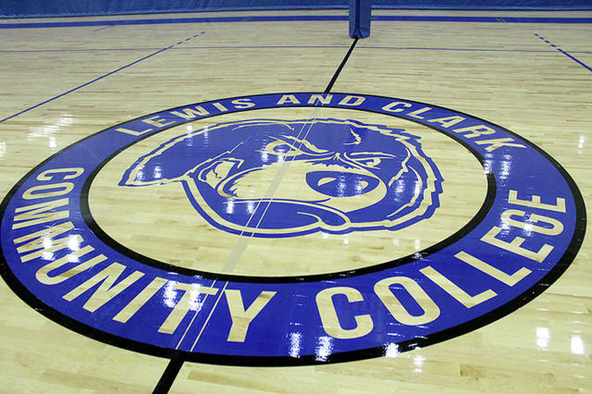 The LCCC logo, featuring the mascot 'Blazer' in the middle of the court at the George C. Terry River Bend Arena.