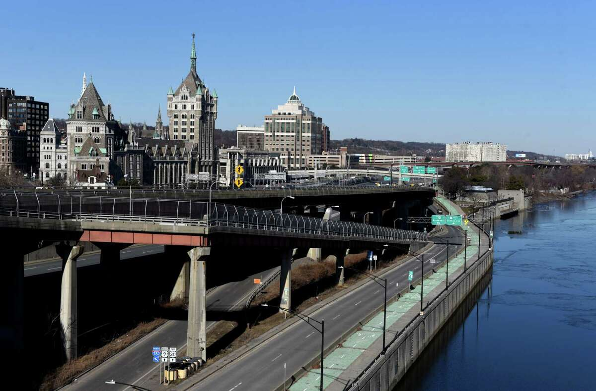 Albany's downtown waterfront and the I-787 complex are seen from Dunn Memorial Bridge on Monday, Jan. 25, 2021, in Albany, N.Y. (Will Waldron/Times Union)