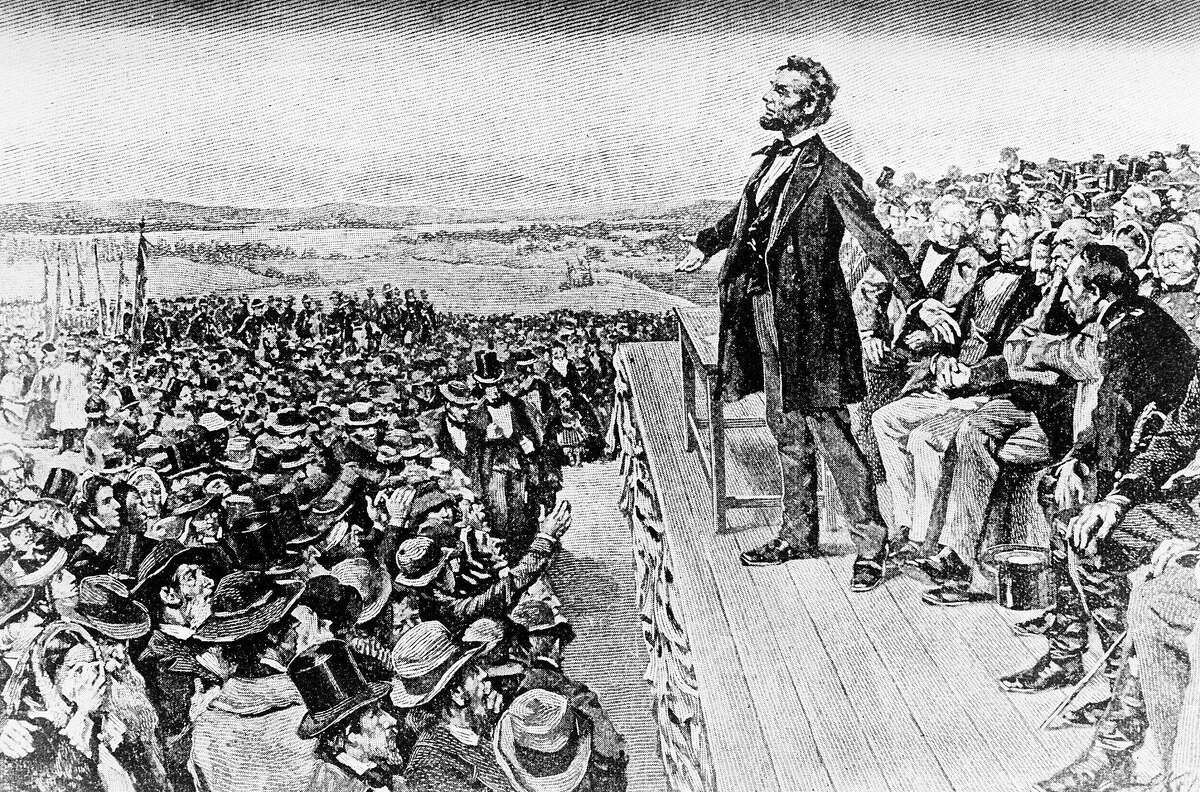 An illustration depicts President Abraham Lincoln making his Gettysburg Address at the dedication of the Gettysburg National Cemetery on Nov. 19, 1863, in Gettysburg, Pa.