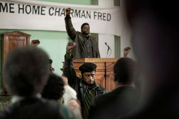 """Lakeith Stanfield (front) and Daniel Kaluuya (back) appear in """"Judas and the Black Messiah,"""" an official selection of the Premieres section at the 2021 Sundance Film Festival. (Glen Wilson/Warner Bros./TNS)"""