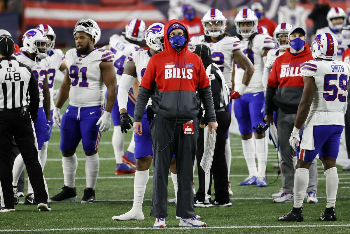 FOXBOROUGH, MA - DECEMBER 28: Buffalo Bills quarterbacks coach Ken Dorsey watches a replay during a game between the New England Patriots and the Buffalo Bills on December 28, 2020, at Gillette Stadium in Foxborough, Massachusetts. (Photo by Fred Kfoury III/Icon Sportswire via Getty Images)