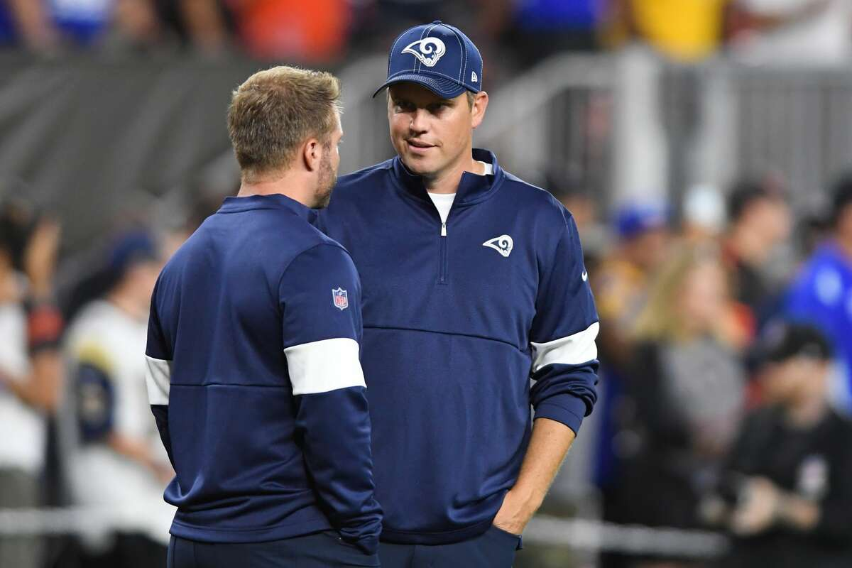 CLEVELAND, OH - SEPTEMBER 22, 2019: Pass game coordinator/quarterbacks coach Shane Waldron of the Los Angeles Rams talks with head coach Sean McVay prior to a game against the Cleveland Browns on September 22, 2019 at FirstEnergy Stadium in Cleveland, Ohio. Los Angeles won 20-13. (Photo by: 2019 Nick Cammett/Diamond Images via Getty Images)