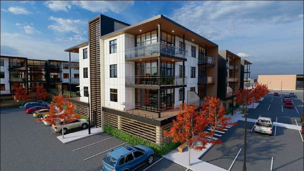 A rendering of a proposed development that would feature a 164,750 square foot apartment complex and an 80,000 square foot, 120-bedroom hotel.