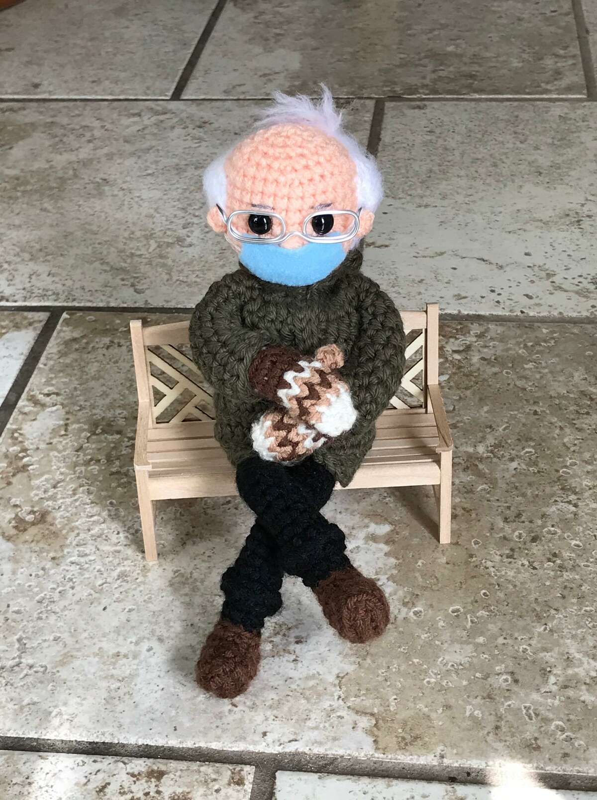 A crocheted Bernie Sanders doll by Tobey King in Corpus Christi. King made the doll and is selling the prototype on eBay to benefit Meals on Wheels.