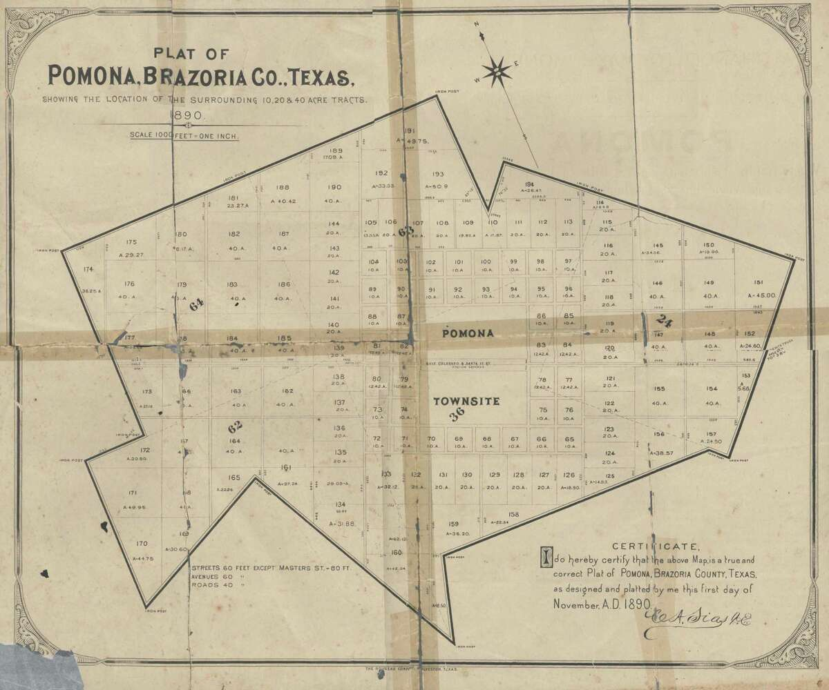 An 1890 map details the plat of Pomona, which was later renamed Manvel.