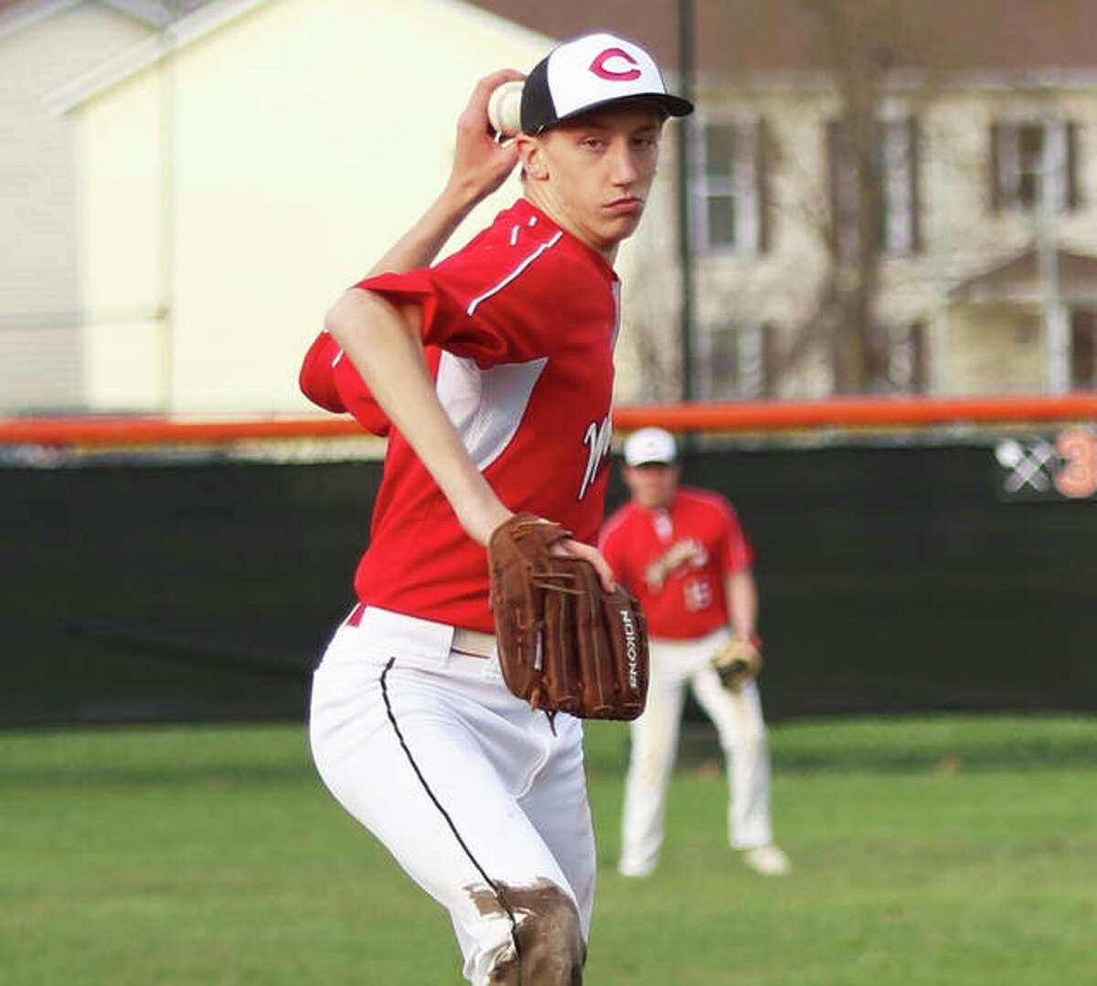 Calhoun's Corey Nelson delivers a pitch to the plate during his sophomore season in a game at Greenfield. After losing his junior season to cancellation because of COVID-19, Nelson wants back on the mound as a senior this spring.