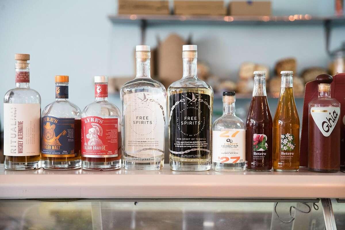 Some of the non-alcoholic spirits for sale at Ocean Beach Cafe near Ocean Beach in San Francisco, California on Jan. 25, 2021.