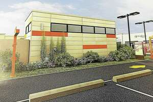 "Above, an artistic rendering of a planned drive-up Dunkin' at 305 East Main St. in Torrington. The new model of a drive-up-only Dunkin' in Torrington and other area towns is being overseen by Sweet Grounds, a part of the PAC Group, a development company in Torrington. The company recently applied to build a drive-through Dunkin' in Litchfield, but it will not resemble this model, and will be ""tailored for Litchfield,"" project managers said."