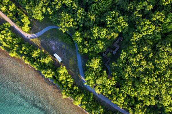 An aerial view of the Railroad Point Natural Area, which will soon be one continuous preserve after a Natural Resources Trust Fund Grant made possible the purchase of the final inholding separating into two pieces. (Courtesy Photo)