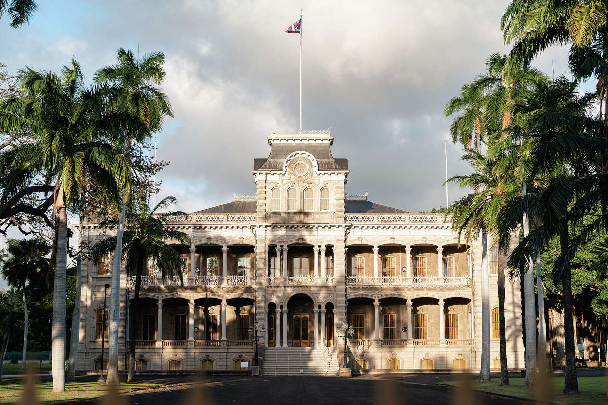 Iolani Palace, the royal residence of the rulers of the Kingdom of Hawaii, photographed on Friday, Jan. 22, 2021, in Honolulu, Hawaii.