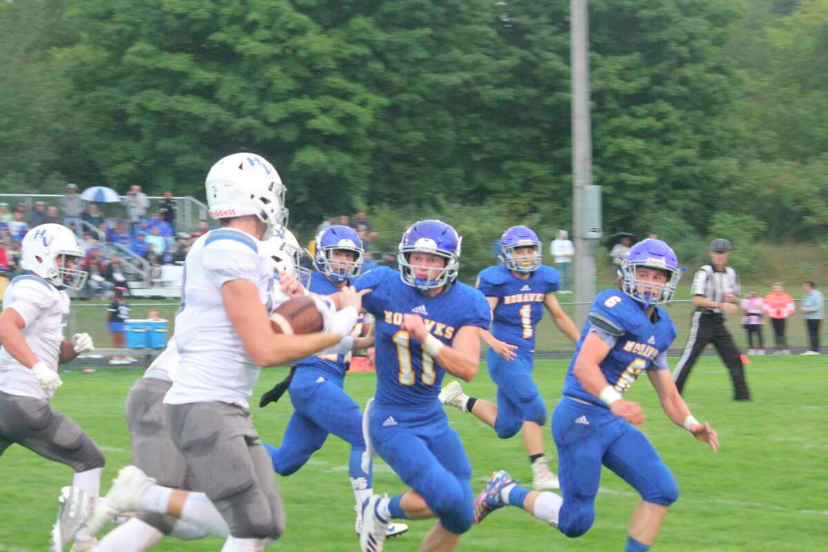 Ryland Nelson (11) was among the area's top football players last fall. (Pioneer file photo)