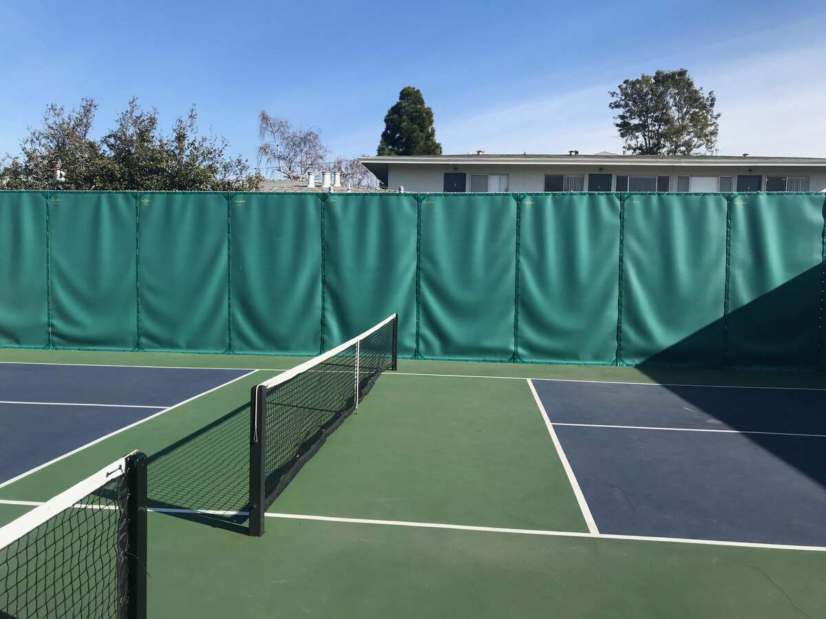 The green zone near the net is the all-important kitchen in the game of pickleball.
