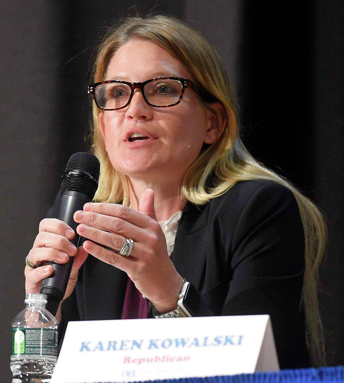 Greenwich school board member Karen Kowalski. In this file photo, she addresses a question during the Greenwich League of Women Voters Board of Education forum at Central Middle School on Oct. 15, 2019 in Greenwich, Connecticut.