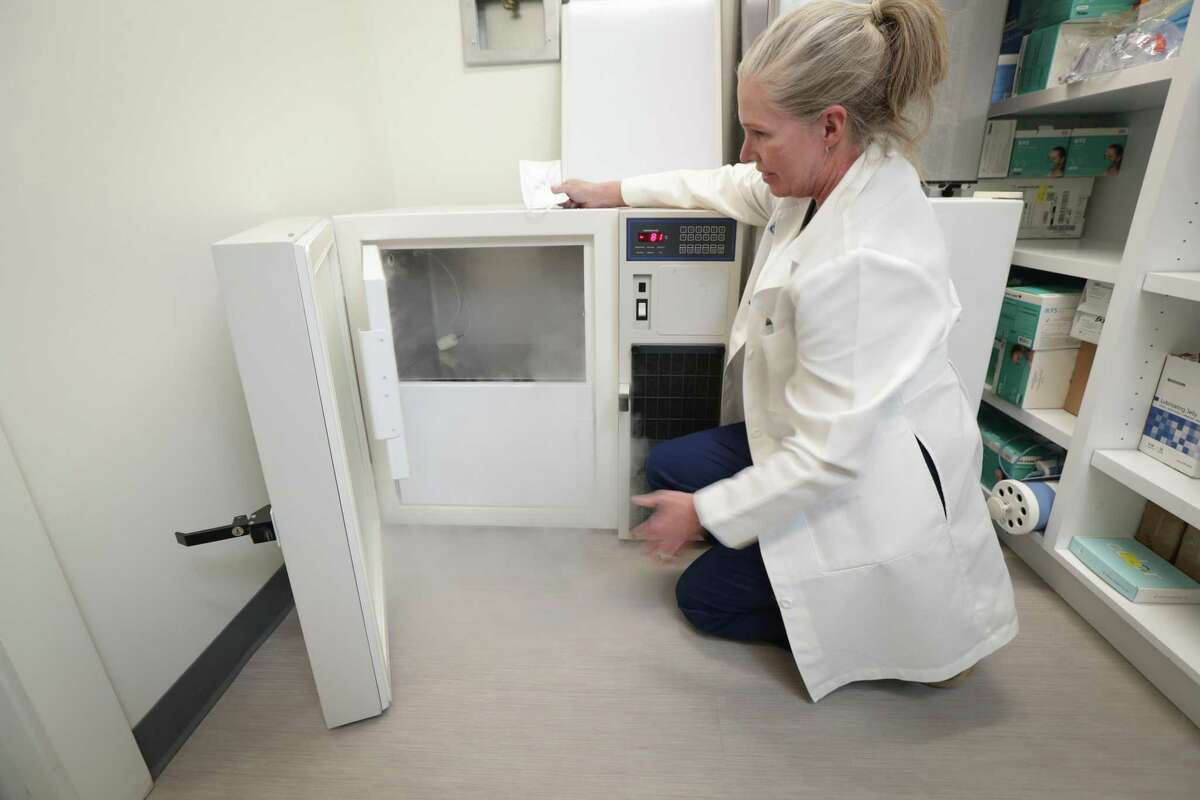 Dr. Lisa Ehrlich purchased a secondhand ultra-cold freezer in a desperate attempt to get COVID-19 vaccines for her patients Friday, Jan. 8, 2021, in Houston.