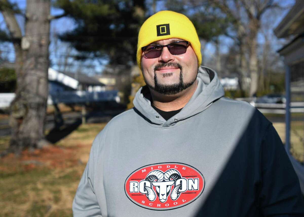 Roton Middle School teacher Mark Jackson outside his home in Norwalk, Conn. on Sunday, January 24, 2021. Jackson recently received the first dose of the Covid-19 vaccine.
