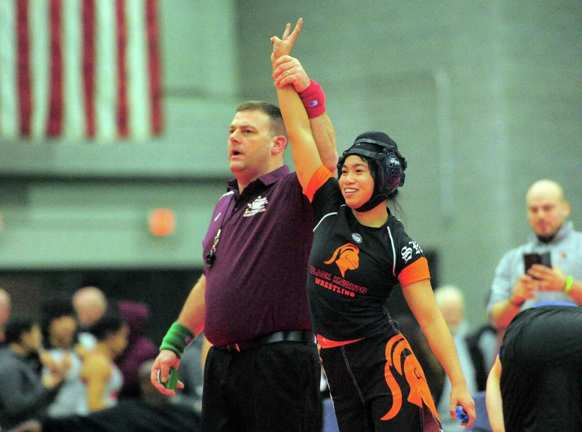 Stamford's Samantha Yap during the CIAC state open championship wrestlingin New Haven on Feb. 29, 2020.