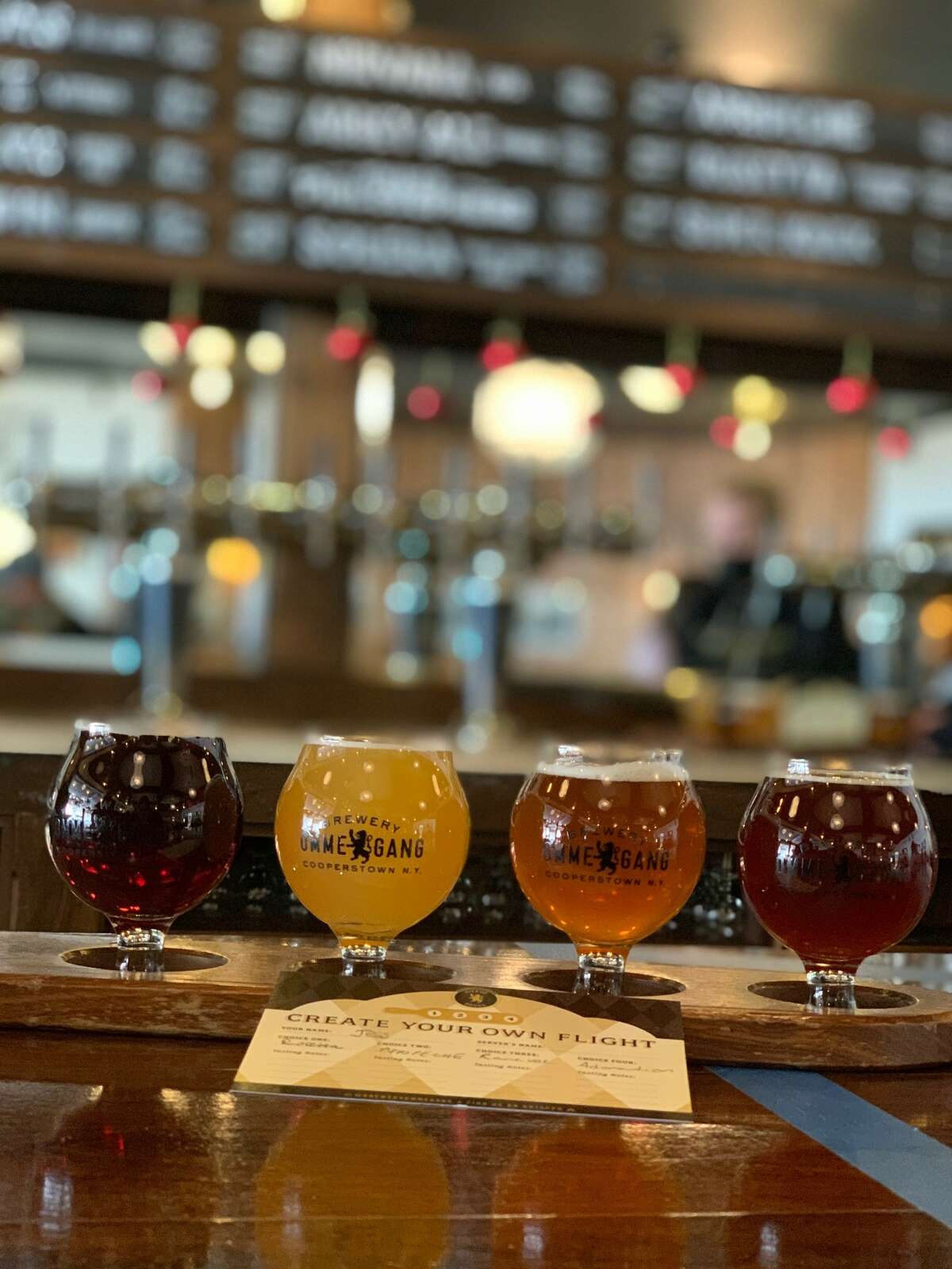 A flight of beers from Brewery Ommegang in Cooperstown.
