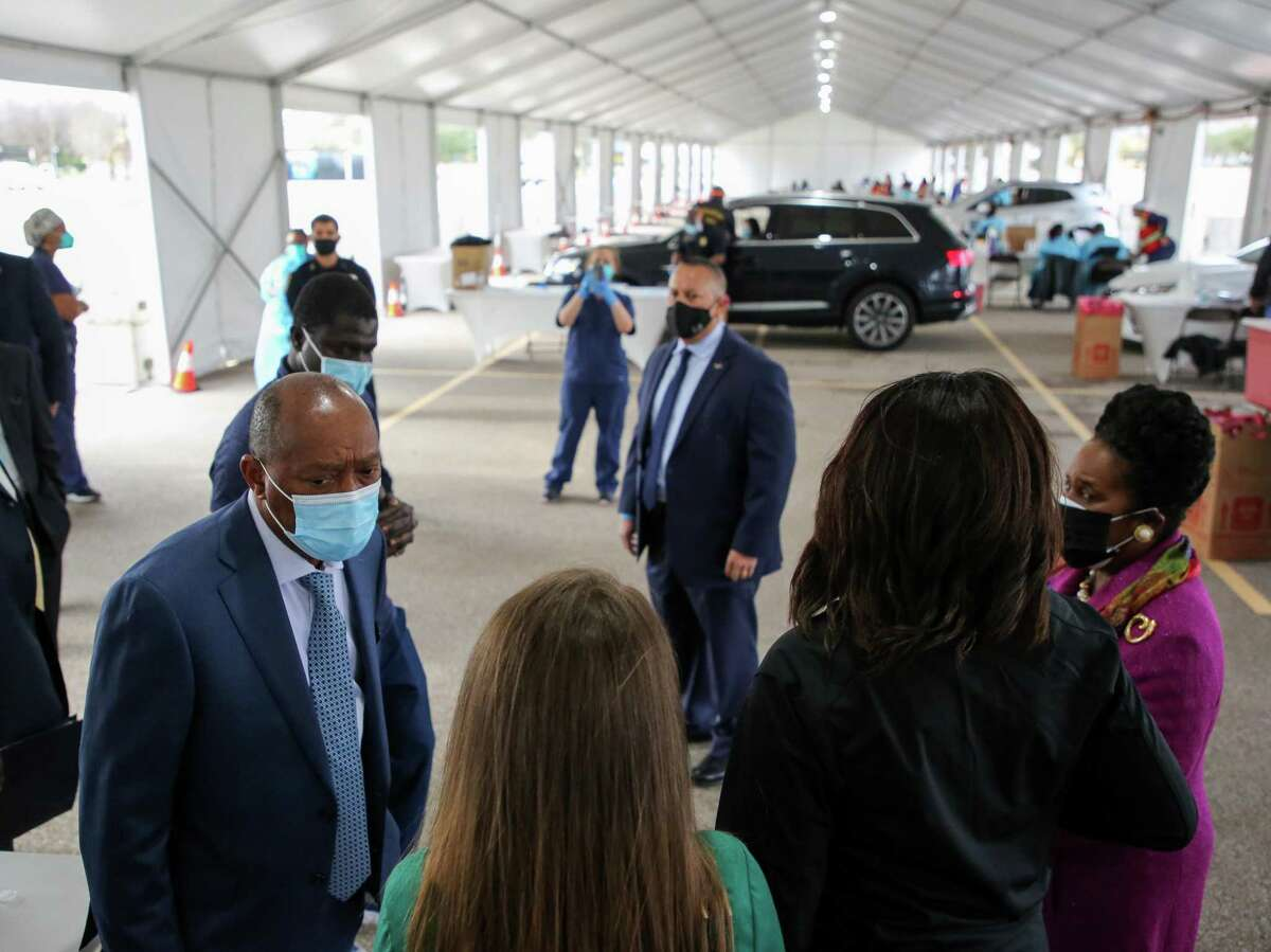 Mayor Sylvester Turner checks out the city's first drive-thru vaccination site at Delmar Stadium on Monday, Jan. 25, 2021, in Houston. The vaccination site was started in partnership with United Memorial Medical Center to distribute the COVID-19 Moderna vaccine to people with appointments.