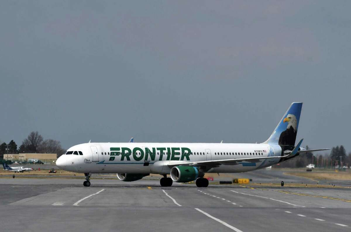 A Frontier Airlines Airbus A321 in April 2019 at Albany International Airport in Colonie, N.Y. (Will Waldron/Times Union)