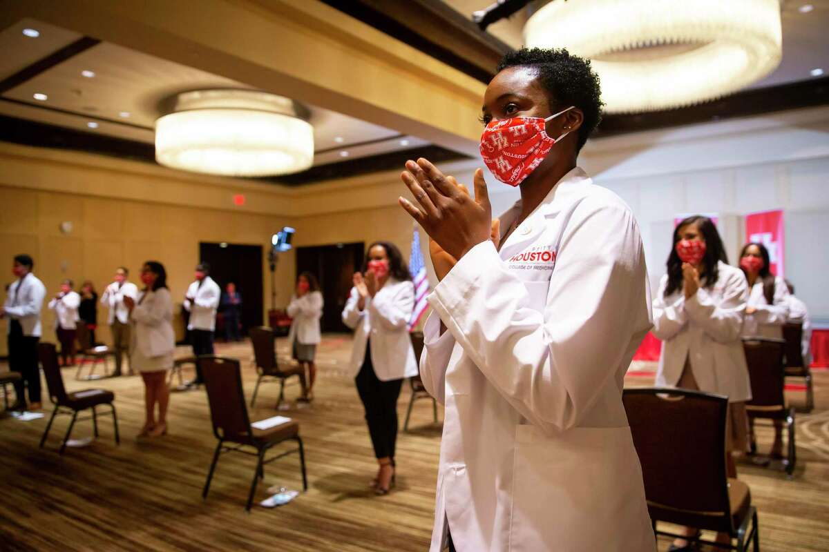 Zikora Stephens attends the University of Houston College of Medicine White Coat Ceremony in August.