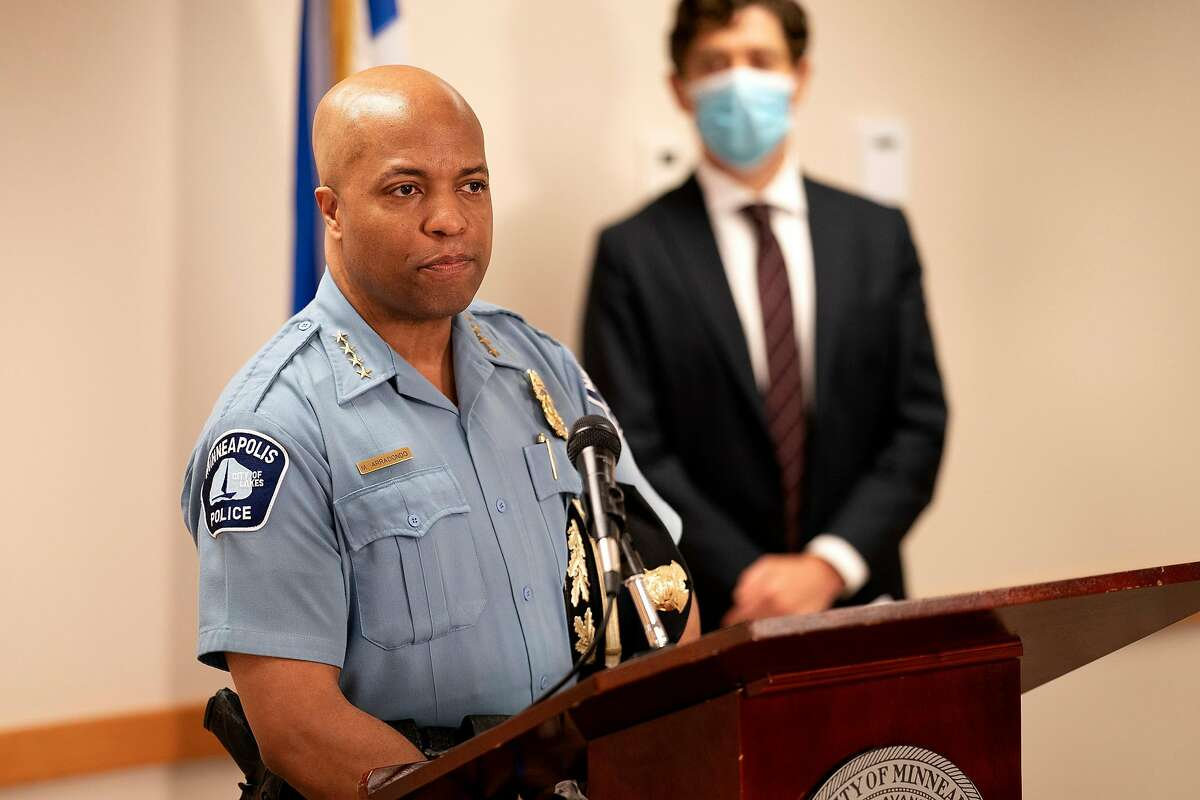 Minneapolis Police Chief Medaria Arradondo, left, and Minneapolis Mayor Jacob Frey unveiled new changes in August to the deadly use of force policy. San Jose named Arradondo a finalist for the police chief job but Arradondo dropped out. (Jerry Holt/Minneapolis Star Tribune/TNS)