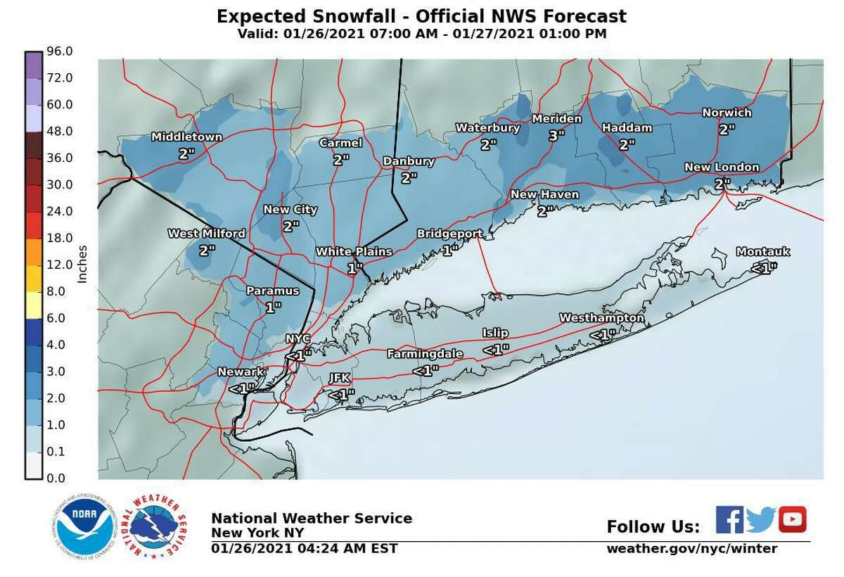Current forecasts indicate some areas of Connecticut could see up to three inches of snow during a light storm Tuesday, Jan. 26, 2021 into Wednesday.