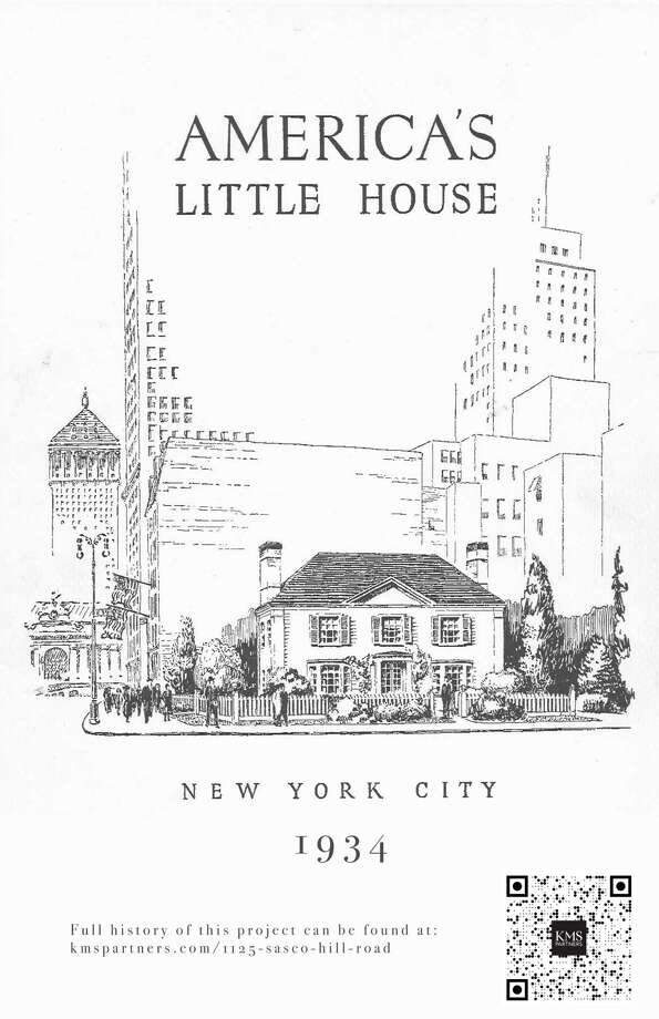 """America's Little House smart phone scan. In 1934 the New York Committee of Better Homes in America, Inc., in cooperation with the Columbia Broadcasting System, introduced the public to a wave of the future in home ownership. A residential prototype was built on the corner of 39th Street and Park Avenue in New York City that year. """"America's Little House,"""" as it was called, was built to showcase """"high standards of architecture and construction, and of carefully budgeted furnishings and landscape planning,"""" according to a 30-page brochure on the project. An exact replica of that famed """"avatar of modern suburban life"""" was constructed at 1125 Sasco Hill Road in Fairfield's Sasco neighborhood the following year, according to its co-listing agents, Laurie Morris and Michael Mombello. Photo: Contributed Photo /"""