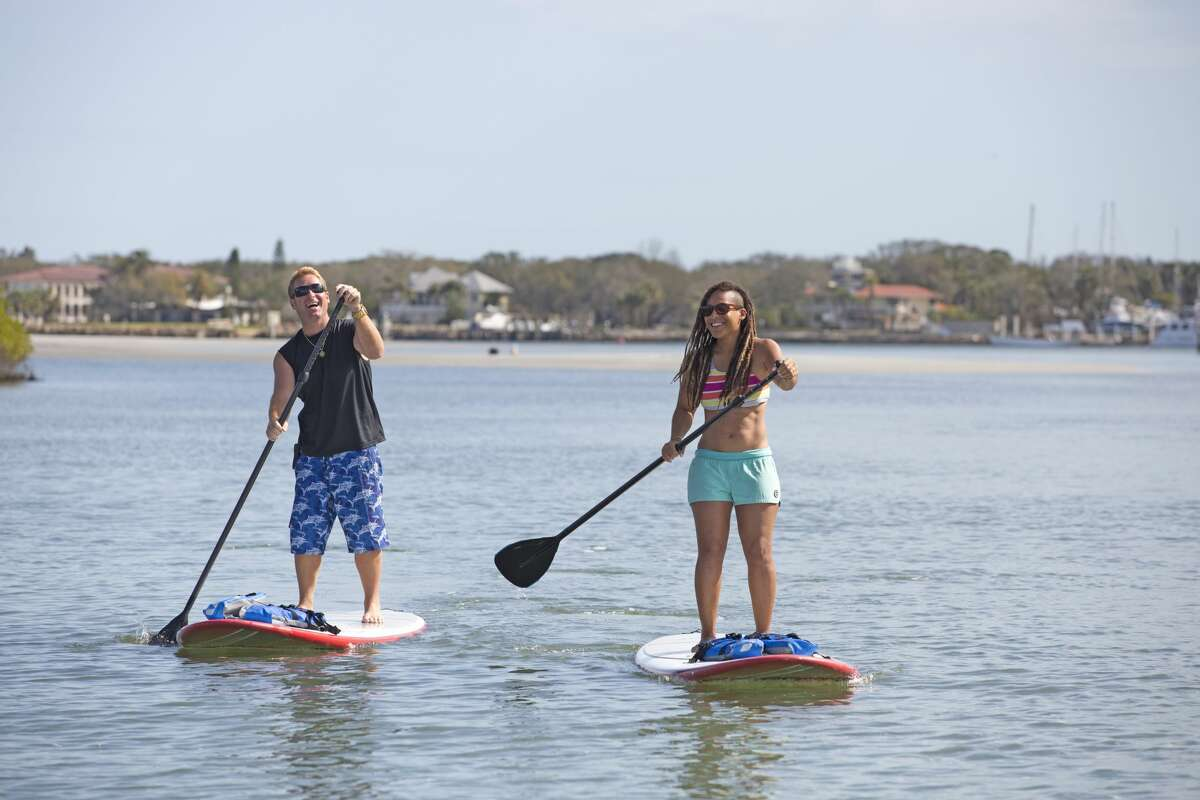 Paddleboarders at Daytona Beach.