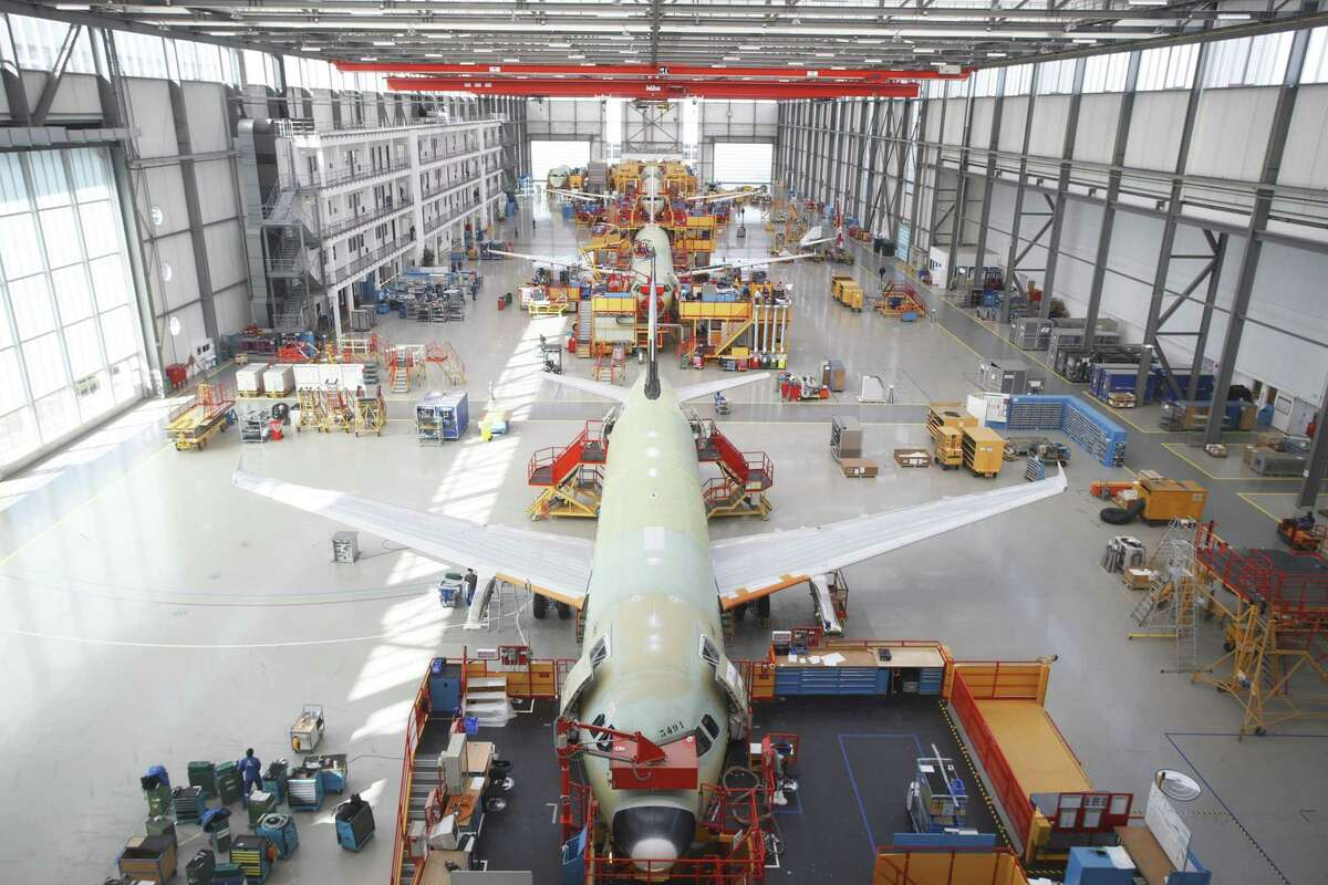 Airbus A320 aircraft in final assembly in Toulouse, France. Frontier Airlines is including A320 aircraft in an order of 134 jets that will be powered by Raytheon Technologies subsidiary Pratt & Whitney's GTF engine developed in East Hartford.