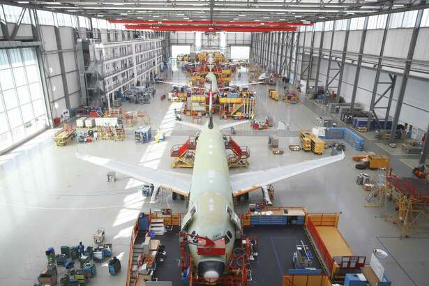 Airbus A320 aircraft in final assembly in Toulouse, France. Frontier Airlines is including A320 aircraft in an order of 134 jets that will be powered by Raytheon Technologies subsidiary Pratt & Whitney's GTF engine developed in East Hartford, Conn. (Press photo via Airbus)