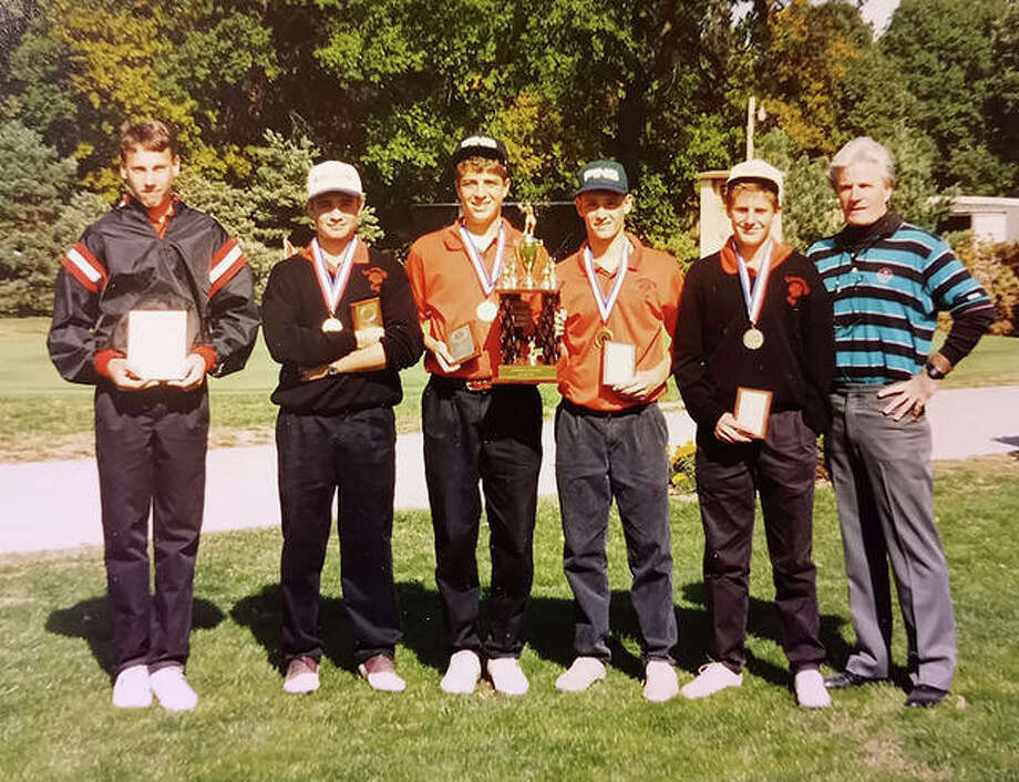 Edwardsville boys golf coach Dick Gerber, right, with the top finishers from the Edwardsville Invitational in 1993. Photo: For The Intelligencer