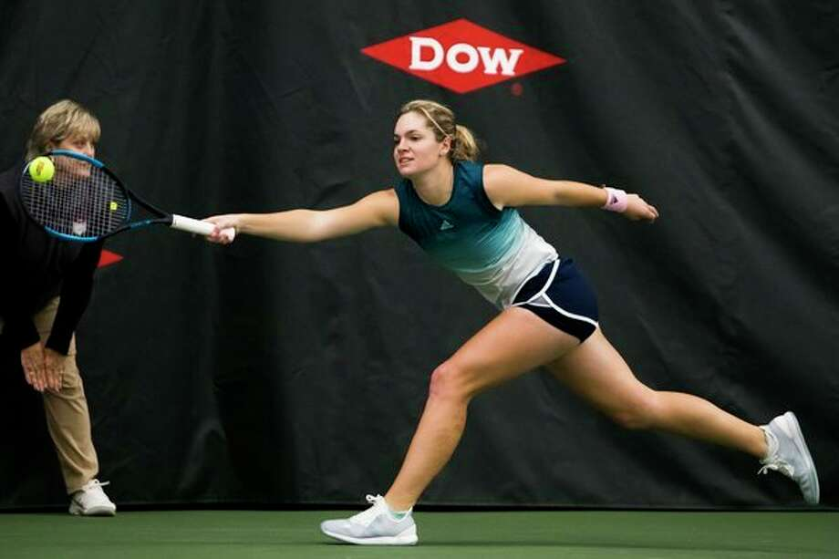 Caty McNally returns a shot during the 2019 Dow Tennis Classic. An interview with McNally, who won the tournament in 2019, will be available to fans as part of a five-day virtual package Feb. 1-5 featuring the history of the tournament. Photo: Daily News File Photo