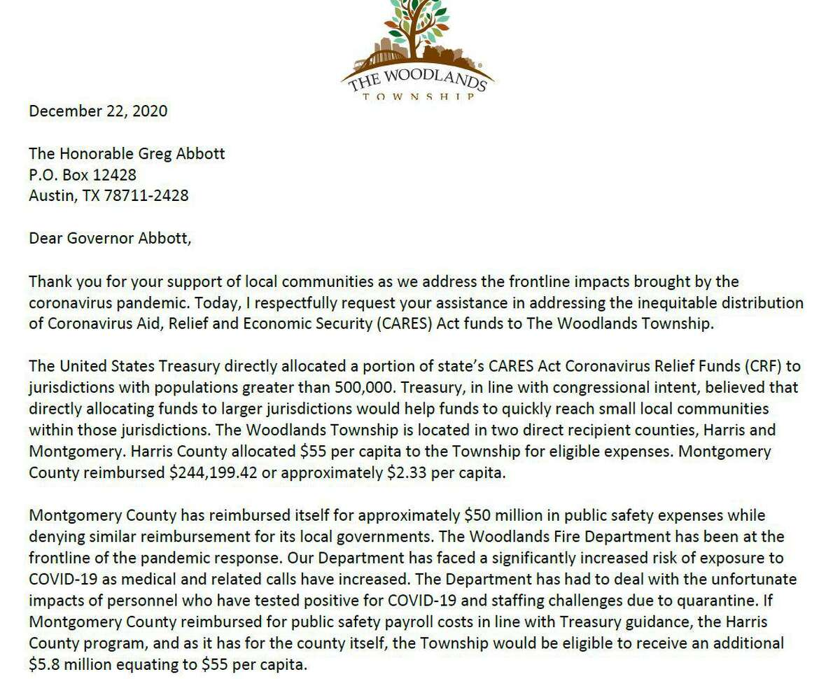 The Woodlands Township sent this letter to Texas Gov. Greg Abbott on Dec. 22 lamenting the lack of funds allocated to the township.