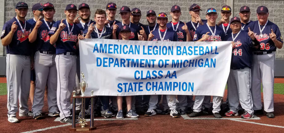 Gladwin Post 171 poses with its American Legion Baseball state championship banner on July 28, 2019. Photo: Photo Provided
