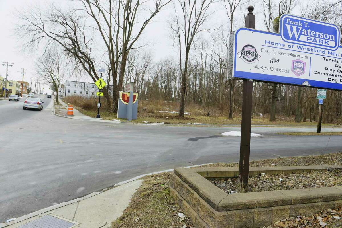 A view of the Anthony Street entrance to Westland Hills Park on Tuesday, Jan. 26, 2021, in Albany, N.Y. (Paul Buckowski/Times Union)