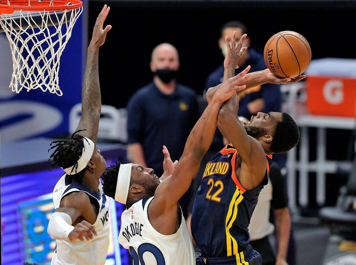 Andrew Wiggins had 23 points and six rebounds in the Warriors' 130-108 win over the Timberwolves on Monday.