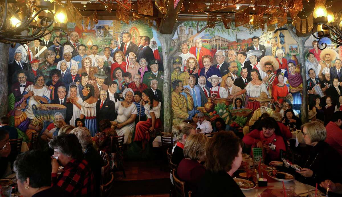 A mural at Mi Tierra restaurant features portraits of prominent people of Hispanic and Latino heritage from San Antonio or with ties to San Antonio, South Texas and Mexico.