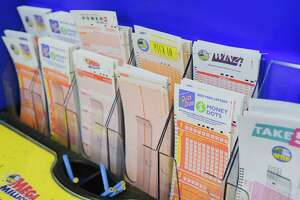 A view of the different Lottery games that customers can play, seen here at Coulson's News and More on Tuesday, Jan. 26, 2021, in Latham, N.Y.   (Paul Buckowski/Times Union)