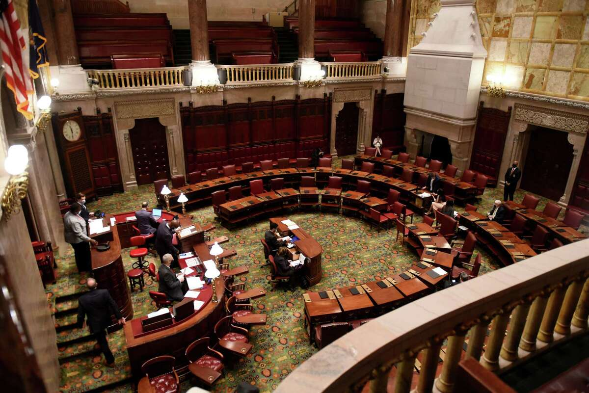 The New York State Senate voted on an election system reform package on Tuesday, Jan. 26, 2021, at the Capitol in Albany, N.Y. Senate Democrats plan on voting in bills Feb. 1, 2021 that they say will help with health care disparities. (Will Waldron/Times Union)