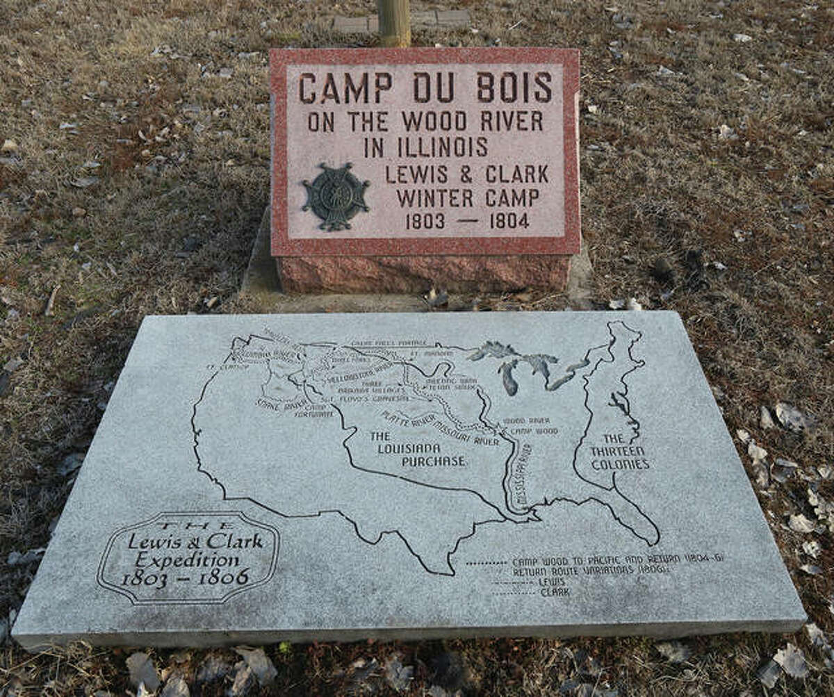 A marker commemorates the spot where members of the Lewis and Clark Expedition built CampDuBois as a winter haven before beginning their cross-country exploration 1804-1806.