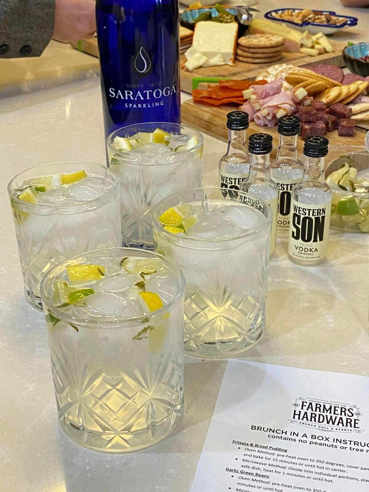 Spiked sparkling lemonade as part of the Boozy Brunch-In-A-Box from Farmer's Hardware in Saratoga Springs. (Photo by Susie Davidson Powell for the Times Union.)