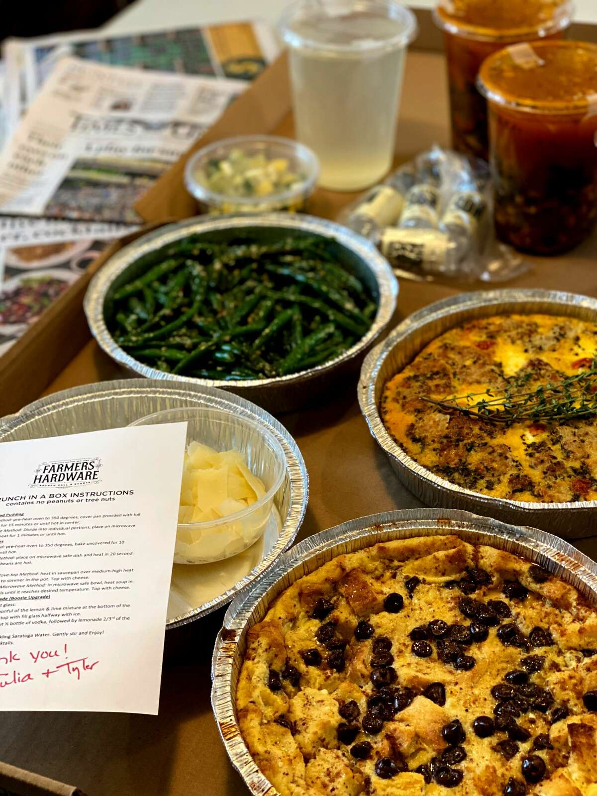 The Boozy Brunch-In-A-Box from Farmer's Hardware in Saratoga Springs. (Photo by Susie Davidson Powell for the Times Union.)