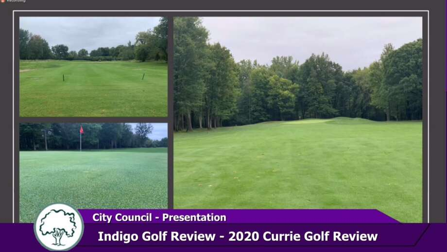 On Monday, Jan. 25, Nick Bednar, vice president of operations for Indigo Golf Partners, gave a recap presentation to Midland City Council, detailing the highlights of the season at Currie Municipal Golf Course. He showed before and after pictures of the course in relation to the flooding that occurred in May 2020. (Screen photo/MCTV) Photo: Screen Photo