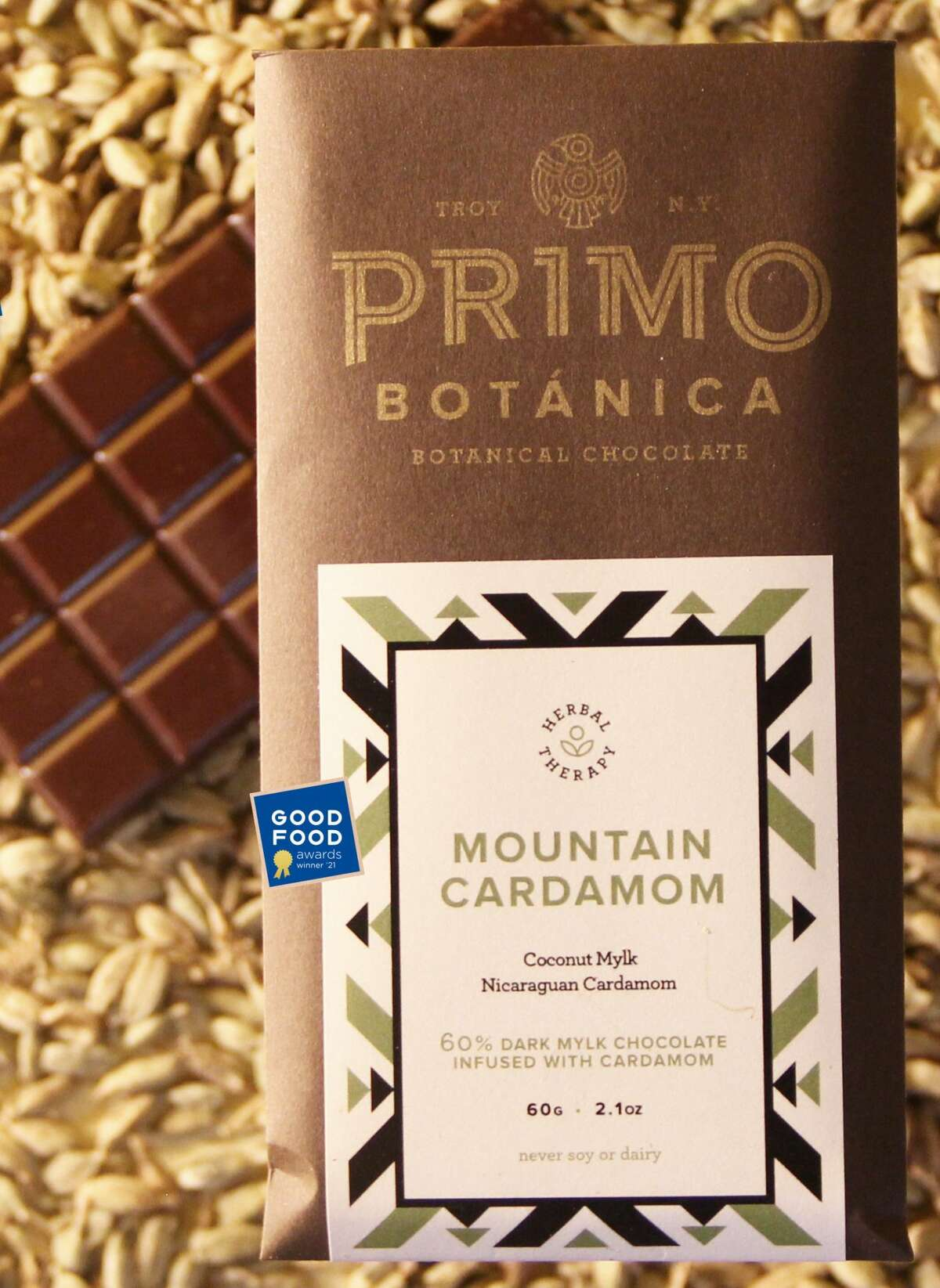 Primo Botanica's award-winning Mountain Cardamom chocolate bar. (Provided photo.)