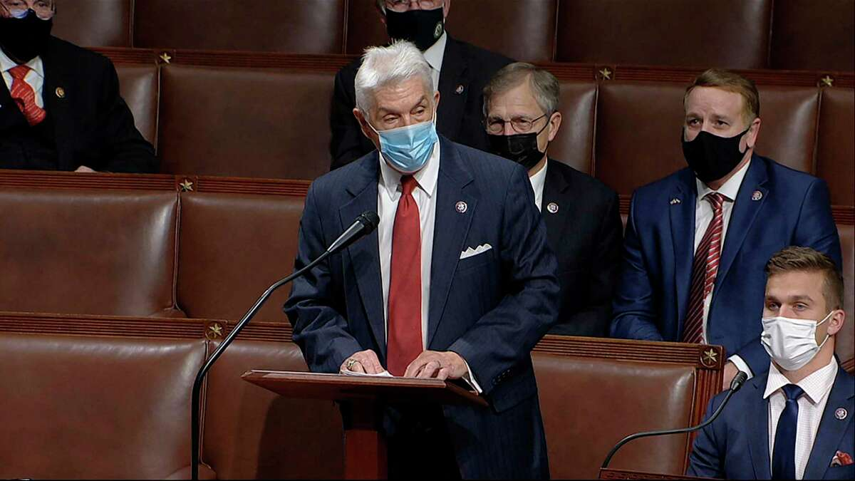 In this image from video, Rep. Roger Williams, R-Texas, speaks as the House debates the objection to confirm the Electoral College vote from Pennsylvania, at the U.S. Capitol early Thursday, Jan. 7, 2021. (House Television via AP)