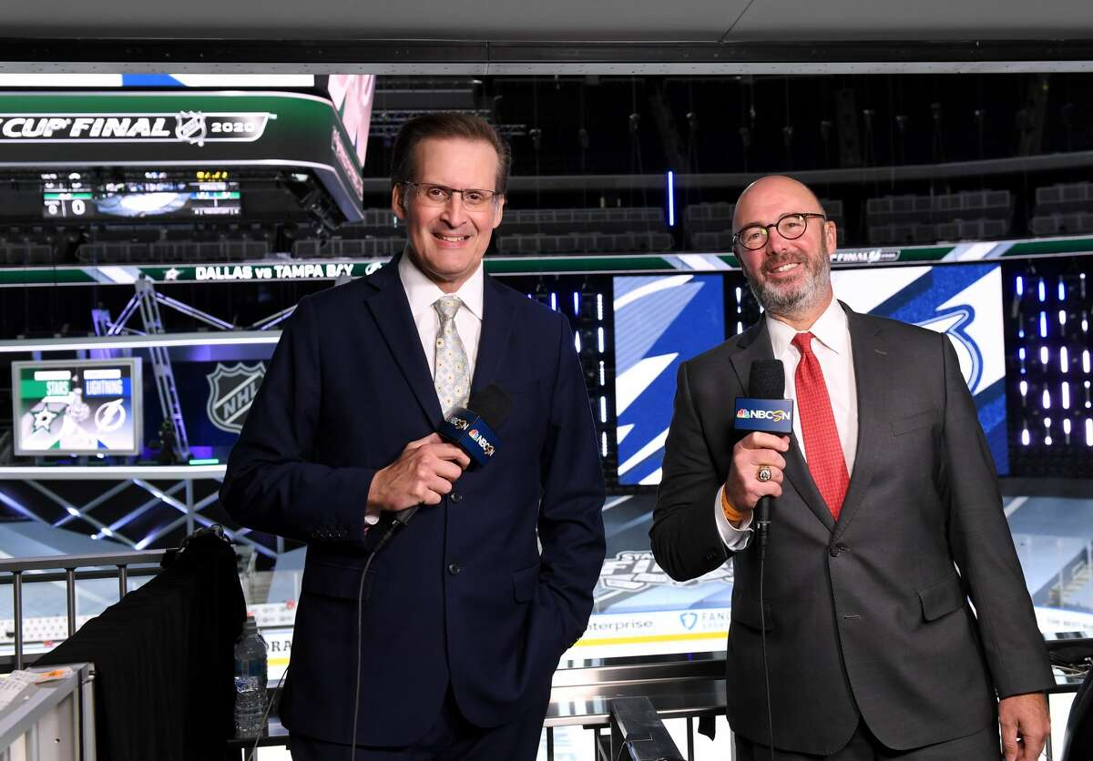 EDMONTON, ALBERTA - SEPTEMBER 28: Sportscasters John Forslund and Pierre McGuire cover Game Six of the NHL Stanley Cup Final between the Tampa Bay Lightning and the Dallas Stars at Rogers Place on September 28, 2020 in Edmonton, Alberta, Canada. (Photo by Andy Devlin/NHLI via Getty Images)