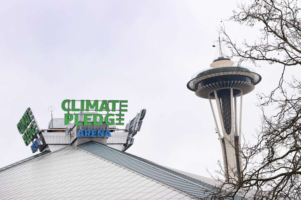 A general view of signage at Climate Pledge Arena on December 10, 2020 in Seattle, Washington.